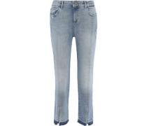 Mara Distressed Mid-rise Kick-flare Jeans Light Denim  9