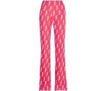 Intarsia Wool-blend Bootcut Pants Pink