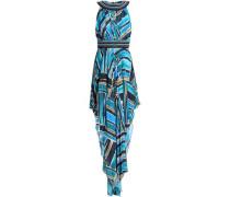 Asymmetric embellished printed chiffon dress