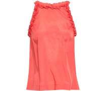 Ruffle-trimmed Crepe De Chine Top Coral