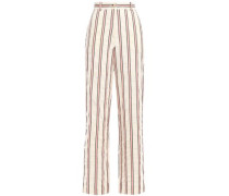 Woman Buddy Crinkled Cotton-blend Jacquard Wide-leg Pants Cream
