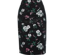 Metallic Floral-jacquard Pencil Skirt Black