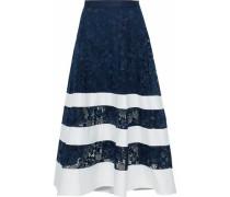 Poplin-paneled guipure lace midi skirt