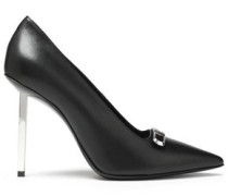 Ceo Appliquéd Leather-trimmed Leather Pumps Black