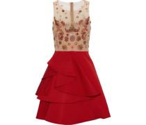 Embellished tulle and ruffled silk-faille mini dress