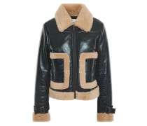 Two-tone Coated Faux Shearling Jacket Black