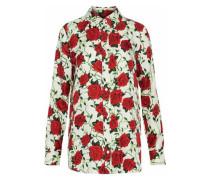 Floral-print silk-satin twill shirt