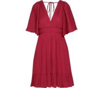 Cape-effect Crepe De Chine Mini Dress Claret