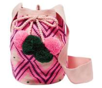 Lila Pompom-embellished Woven Bucket Bag Pink Size --