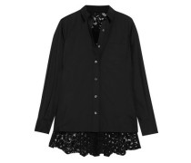 Lace-paneled poplin shirt