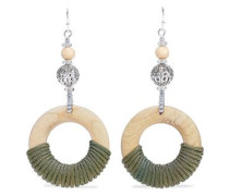 Silver-tone, Bead, Wood And Cord Earrings Army Green Size --