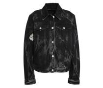 Velvet-trimmed Printed Denim Jacket Black