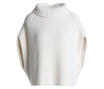 Ribbed wool-blend turtleneck sweater