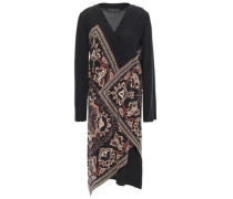 Wrap-effect Printed Silk Crepe De Chine Dress Black