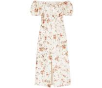 Dayna Floral-print Silk-satin Midi Dress Cream