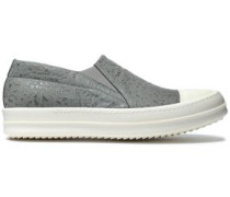Textured-leather slip-on sneakers