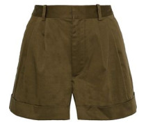 Conry Pleated Stretch-cotton Shorts Army Green Size 0