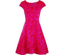 Flared satin-jacquard dress