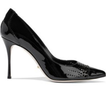 Perforated patent-leather pumps