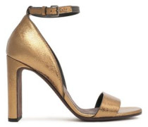 Bead-embellished Cracked-leather Sandals Brass
