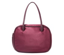 Woman Dorina Leather-trimmed Satin Tote Burgundy