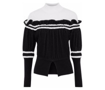 Ruffled Two-tone Knitted Turtleneck Sweater Black