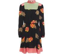 Woman Satin-trimmed Floral-print Silk Crepe De Chine Mini Dress Black