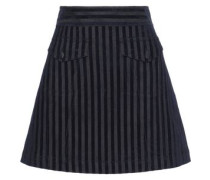 Flocked Striped Denim Mini Skirt Indigo