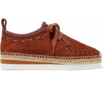 Leather-trimmed suede platform espadrille sneakers