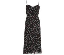 Cutout floral-print chiffon midi dress