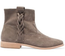 Braided suede ankle boots
