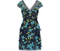 Floral-appliquéd Embroidered Tulle Dress Navy Size 0