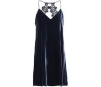 The Soho Open-back Lace-trimmed Velvet Mini Dress Navy
