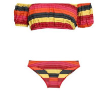 Off-the-shoulder Cotton-blend Stretch-jersey Bandeau Bikini Top Multicolor Size 1