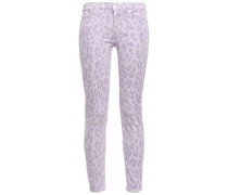 Leopard-print Mid-rise Skinny Jeans Lilac  8