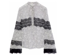 Pussy-bow Lace-trimmed Printed Silk-chiffon Blouse Off-white