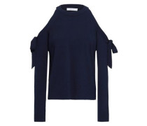 Bow-detailed Cold-shoulder Knitted Top Navy