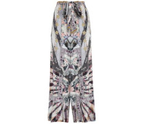 Woman Printed Silk Crepe De Chine Wide-leg Pants Light Gray