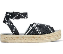 Woven Leather Platform Espadrille Sandals Black