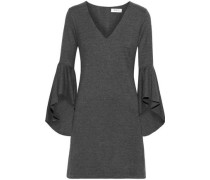 Avalanche Ruffled Mélange Stretch-jersey Mini Dress Anthracite