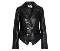 Tamara Double-breasted Leather Jacket Black