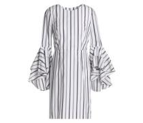 Ruffled striped cotton-poplin mini dress
