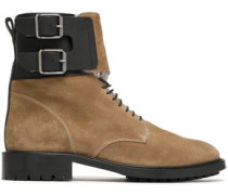 Buckle-detailed suede ankle boots