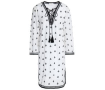 Tasseled embroidered cotton-blend mini dress