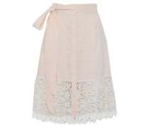 Corded lace-paneled linen-gauze skirt
