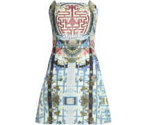 Strapless printed jacquard mini dress