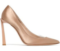 Pvc-trimmed Satin Pumps Sand
