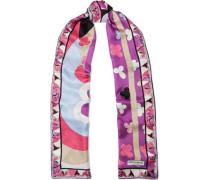 Woman Printed Silk-jacquard Scarf Purple