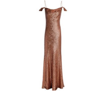 Cold-shoulder sequined crepe gown
