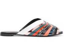 Gamure Paneled Metallic Leather Slides Multicolor